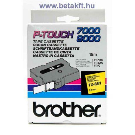 Brother TX-651 sárga alapon fekete eredeti feliratozó szalag