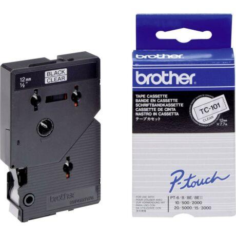 Brother TC-101 átlátszó alapon fekete eredeti feliratozó szalag