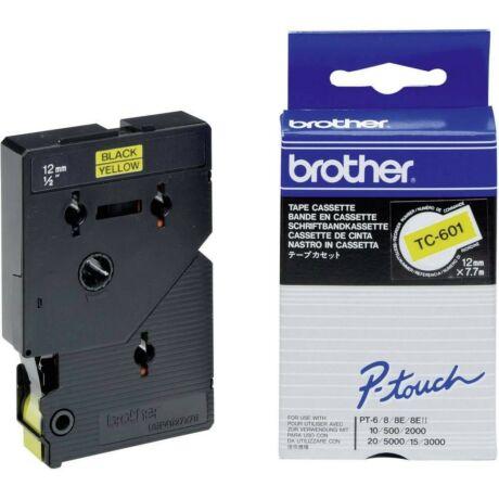 Brother TC-601 sárga alapon fekete eredeti feliratozó szalag