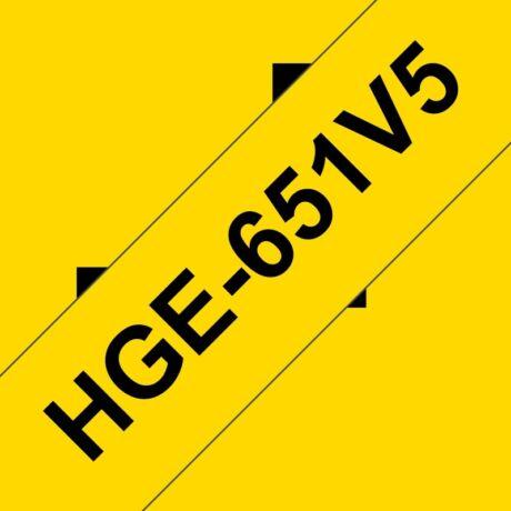 Brother HGE-651 sárga alapon fekete eredeti feliratozó szalag