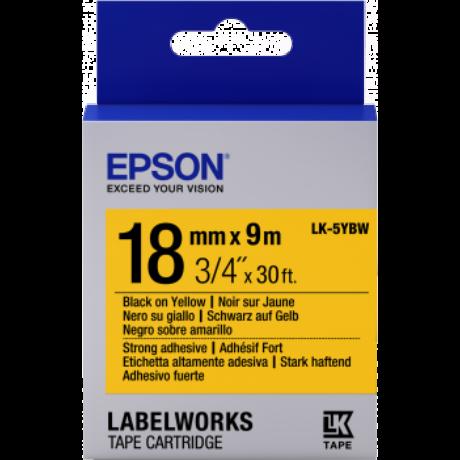 Epson K-5YBW sárga alapon fekete eredeti címkeszalag