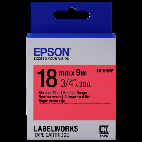 Epson LK-5RBP pasztel piros alapon fekete eredeti címkeszalag