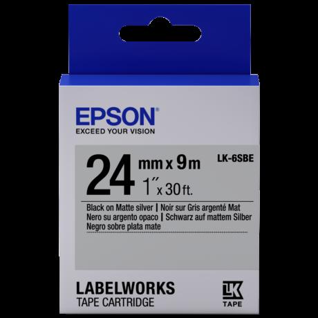 Epson LK-6SBE matt ezüst alapon fekete eredeti címkeszalag