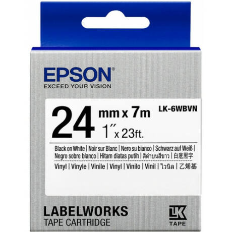 Epson LK-6WBVN fehér alapon fekete eredeti vinyl címkeszalag