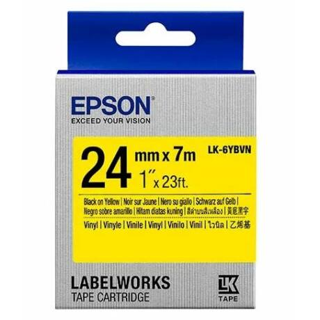 Epson LK-6YBVN sárga alapon fekete eredeti vinyl címkeszalag