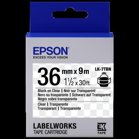 Epson LK-7TBN átlátszó alapon fekete eredeti címkeszalag