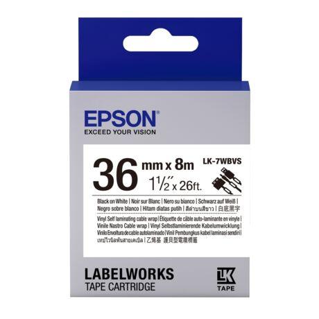 Epson LK-7WBVS fehér alapon fekete eredeti vinyl címkeszalag