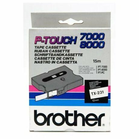 Brother TX-231 fehér alapon fekete eredeti feliratozó szalag